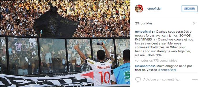 Nenê, torcida, Vasco x Flamengo, Campeonato Carioca (Foto: Reprodução / Instagram)