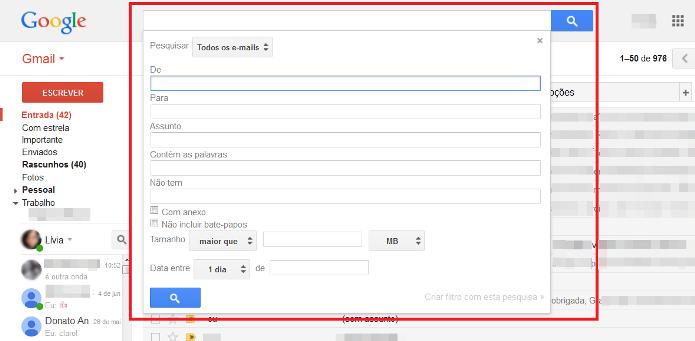 Pesquisa avançada do Gmail (Foto: Reprodução/Lívia Dâmaso)