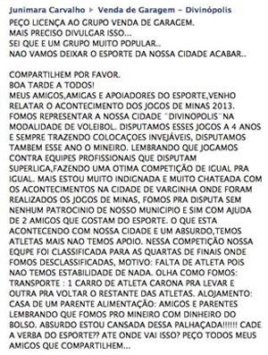 mensagem postada no facebook pela Unidiv União Divinopolitana de Voleibol time de vôlei de Divinópolis MG (Foto: Facebook/Reprodução)