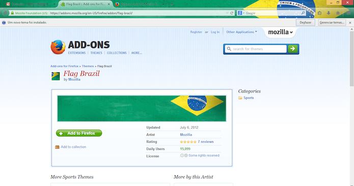 Tema da bandeira brasileira instalada no Firefox (Foto: Reprodução/Marvin Costa)