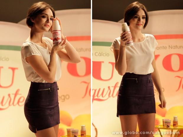 Giane é a nova garota-propaganda dos iogurtes You (Foto: Sangue Bom / TV Globo)