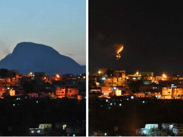 Fotos tiradas às 18h e às 20h deste sábado (3), respectivamente (Foto:  Anizio Suela/ Internauta)