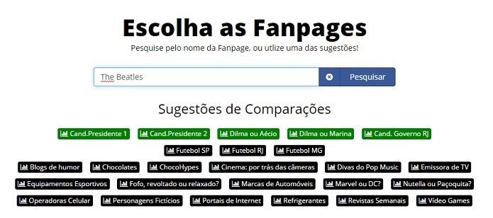 Tela principal do site com campo de busca e sugestões de comparação (Foto: Reprodução/Raquel Freire)
