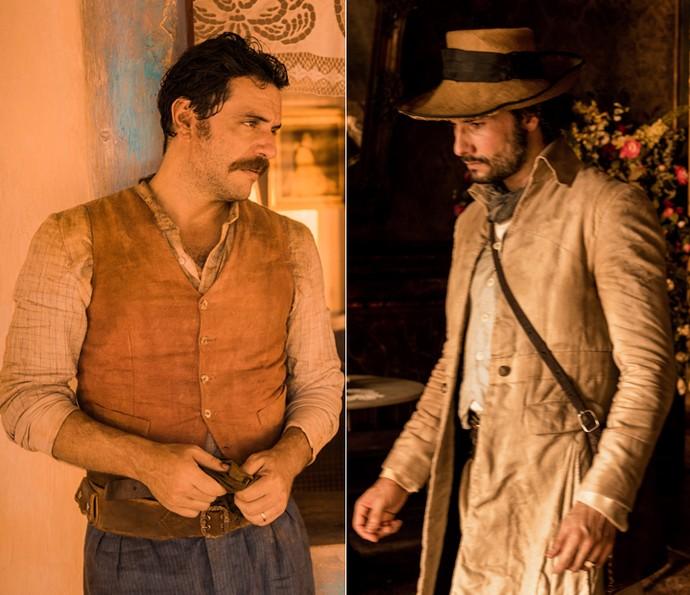 O capitão Ernesto Rosa e o coronel Afrânio são grandes rivais. Os personagens são interpretados por Rodrigo Lombardi e Rodrigo Santoro, respectivamente (Foto: Caiuá Franco/ Globo)