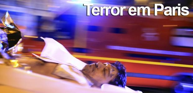 Pior ataque terrorista da história da  França deixa mais de 110 mortos; SIGA (Pior ataque terrorista da história da  França deixa mais de 110 mortos; SIGA (Pior ataque terrorista da história da  França deixa mais de 110 mortos; SIGA (Pior ataque terrorista da história da  França deixa mais de 110 mortos; SIGA (Thibault Camus/AP))))