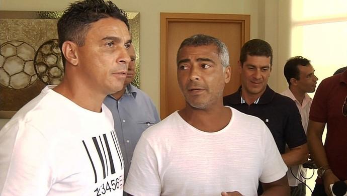Alex Dias e Romário em Goiânia (Foto: Reprodução/TV Anhanguera)