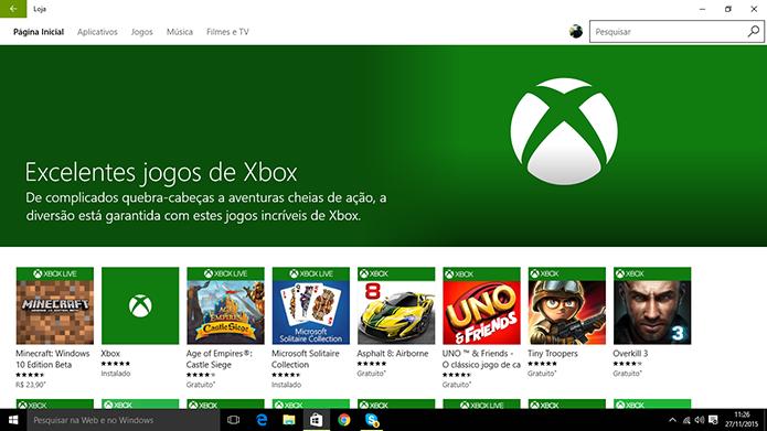 Windows Store tem coleções com jogos do Xbox, redes sociais, suporte a controle físico, entre outros (Foto: Reprodução/Elson de Souza)