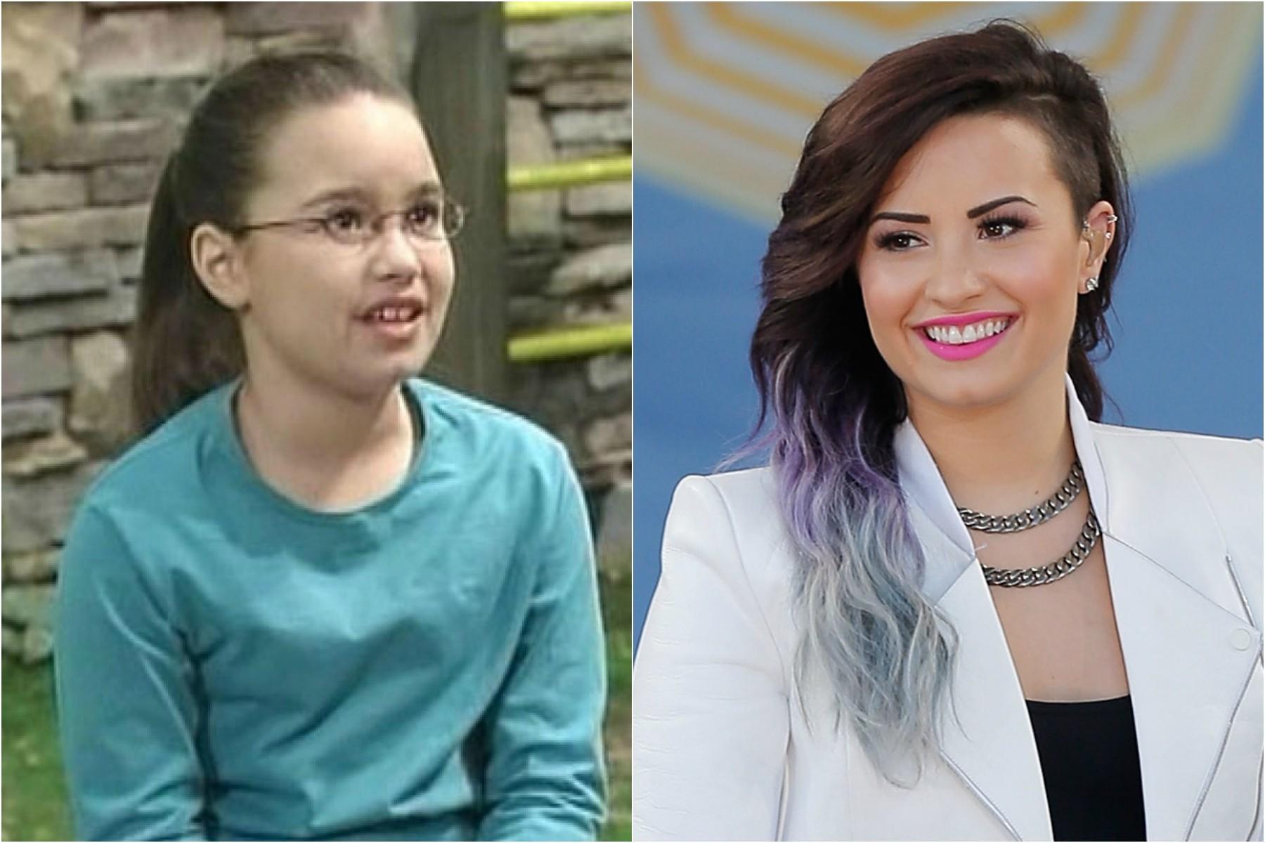 Demi Lovato tinha entre 9 e 10 anos quando começou a trabalhar na televisão (à esq.), interpretando a menina Angela nos programas do dinossauro Barney desde 2002. Hoje, se dedica mais à carreira de cantora e tem 21 anos. (Foto: Getty Images)