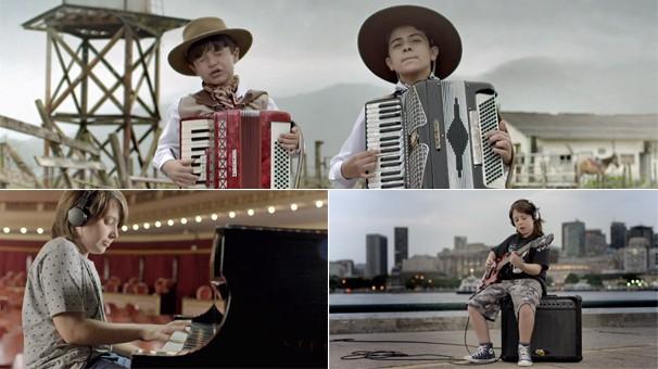 A mensagem de fim de ano da Globo em 2014 começa com crianças por todo o Brasil, mostrando seus talentos (Foto: Globo)