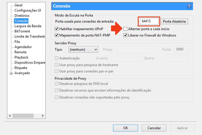 Obtenha o número da porta usada pelo uTorrent (Foto: Reprodução/Paulo Alves)