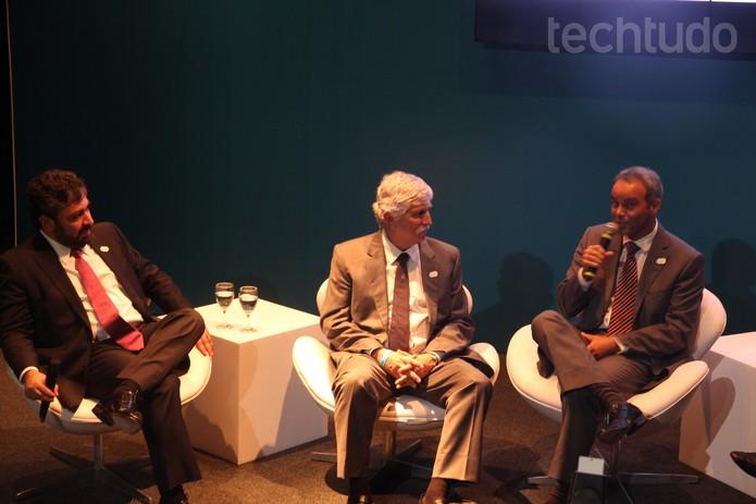Rodrigo Uchôa, Franklin Dias Coelho, secretário de Tecnologia, e Elly Resende, diretor de Tecnologia do COB  (Foto: Carol Danelli/TechTudo)