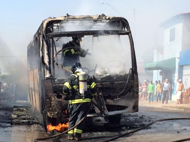 Bombeiros controlaram fogo em ônibus, em Ibitinga (Foto: Ibitinga Diário/Divulgação)