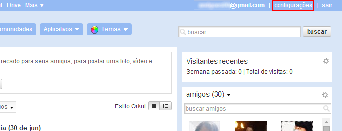 Acesse sua conta do Orkut e abra as configurações (Foto: Reprodução/Helito Bijora)
