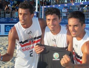 Futevolei São Paulo Alex Dias, Vinicius e Bello (Foto: Janir Junior)