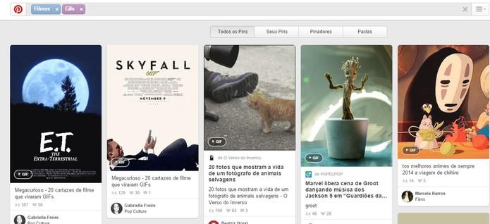 Pinterest ajuda e encontrar GIFs e compartilhar (Foto: Reprodução/Barbara Mannara)