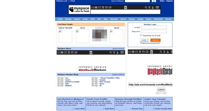 MySpace foi reformulado e hoje funciona como um portal de conteúdo (Foto: Reprodução/Internet Archive)