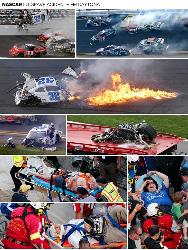 Mosaico - Acidente Nascar Daytona (Foto: Editoria de Arte)