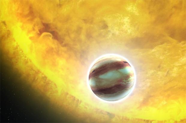 Concepção artística de um exoplaneta passando perto de sua estrela (Foto: Nasa/ESA/G. Bacon)