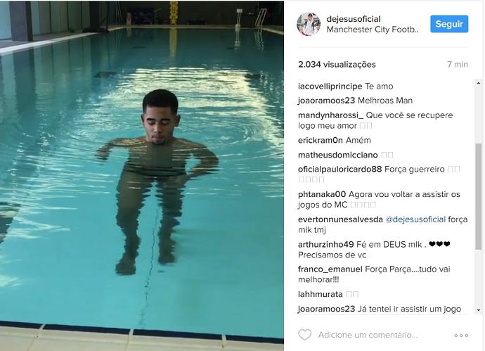 Gabriel Jesus Instagram piscina