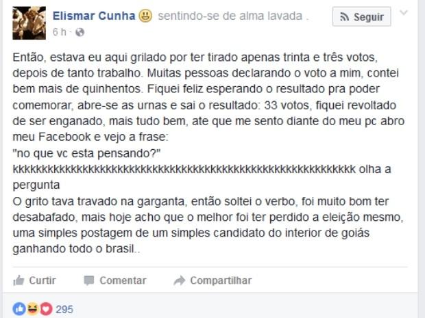Candidato diz que fez post para desabafar revolta, em Bela Vista de Goiás (Foto: Reprodução/Facebook)