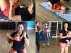 Suzana Alves leva filho de três meses para ginástica: 'Melhor aula'