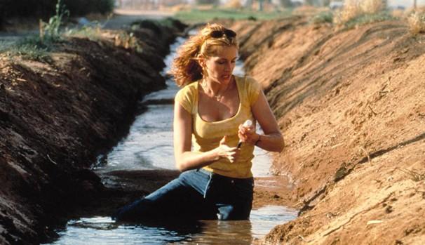 Erin Brockovich (Julia Roberts) descobre que a água de uma cidadezinha está sendo contaminada (Foto: Divulgação/Reprodução)