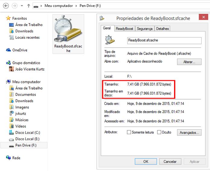 Propriedades mostram quanto do dispositivo foi convertido para memória virtual (Foto: Reprodução/Windows)