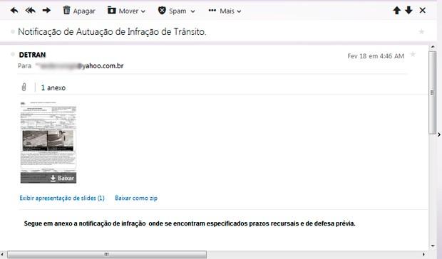 Segundo o Detran, notificações enviadas por email são falsas (Foto: Reprodução/G1)