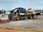 Choque entre camionetes interdita a segunda ponte mais extensa do Brasil