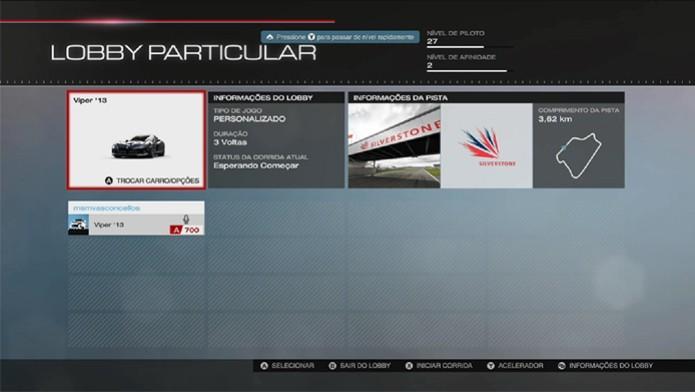 Forza 5: navegue dentro do lobby para personalizar sua partida (Foto: Reprodução/ Matheus Vasconcellos)