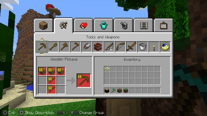 Minecraft no PS Vita incorpora o menu de crafting simplificado dos consoles (Foto: IGN)