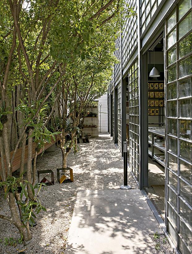 Corredor lateral todo arborizado do Mesa III, projeto do arquiteto Felippe Crescenti.  (Foto: Lufe Gomes/Editora Globo)