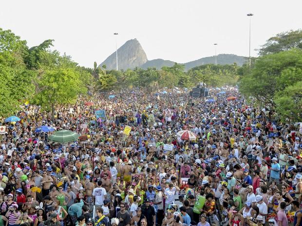 Público no Rio festeja junto com o bloco Orquestra Voadora (Foto: Luciano Oliveira/G1)