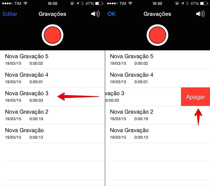 Apagando gravações do iPhone (Foto: Reprodução/Helito Bijora)