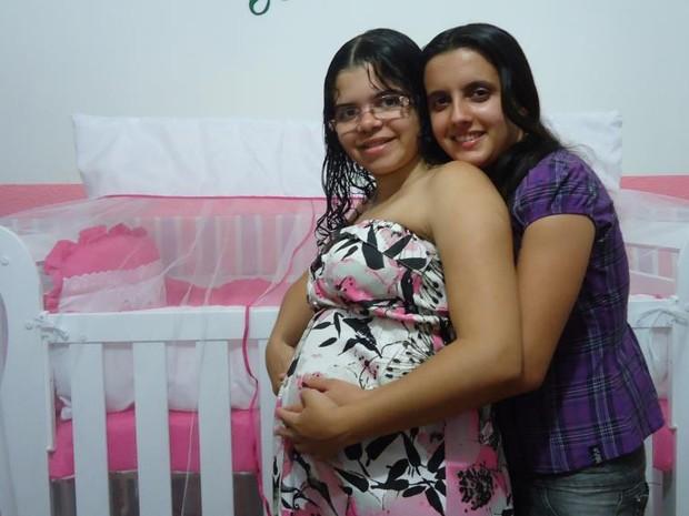 Lithiene e Thais planejaram filha juntas (Foto: Lithiene Barbosa/Arquivo Pessoal)