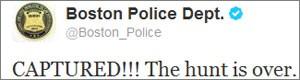 Polícia dos EUA: 'Caçada acabou' (Reprodução/Twitter)