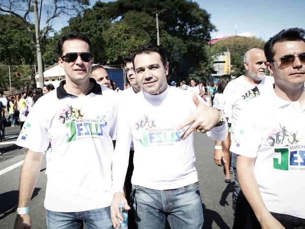 O deputado Marco Feliciano durante a Marcha para Jesus nesta sábado (29) (Foto: Caio Kenji/G1)
