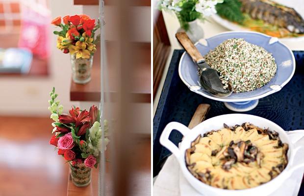 À esq., coloque flores em todos os cantos da casa, até na escada, como fez a blogueira Luciana Colesanti, no almoço de família. À dir., invista em comida de qualidade, pois seus convidados notarão. A produtora de festas Andréa Ortiz escolheu o bufê Ricard (Foto: Rogério Voltan/Casa e Comida)