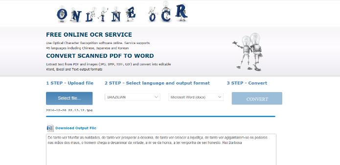 Compatível com vários formatos de imagem, o Online OCR é uma ótima ferramenta de reconhecimento (Foto: Reprodução/Daniel Ribeiro)