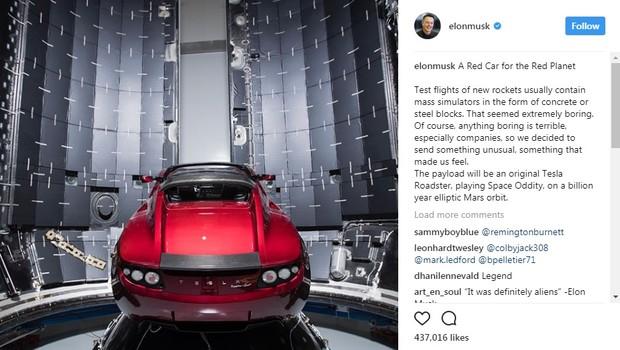 Tesla Roadster será enviado ao espaço pela SpaceX (Foto: reprodução @elonmusk)