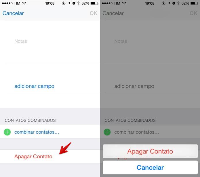 Apagando um contato da agenda do iOS (Foto: Reprodução/Helito Bijora) (Foto: Apagando um contato da agenda do iOS (Foto: Reprodução/Helito Bijora))