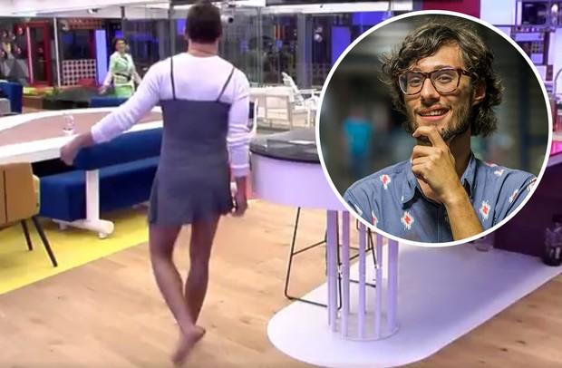 Pedro brinca ao ver Manoel usando vestido no Gran Hermano VIP (Foto: Reprodução)