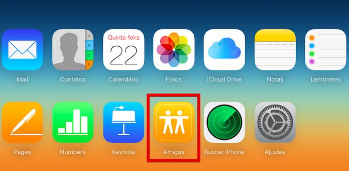 Acesse a sua conta no iCloud e abra o app Amigos (Foto: Reprodução/Helito Bijora)