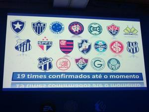 Anúncio dos clubes brasileiros presentes em 'Fifa 14' (Foto: Gustavo Petró/VC no G1)