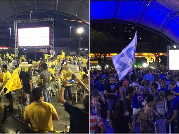 Eleitores de Roberto Cláudio e Capitão Wagner comemoram chegada ao segundo turno (Foto: Wânyffer Monteiro/Renata Rolim/TV Verdes Mares)