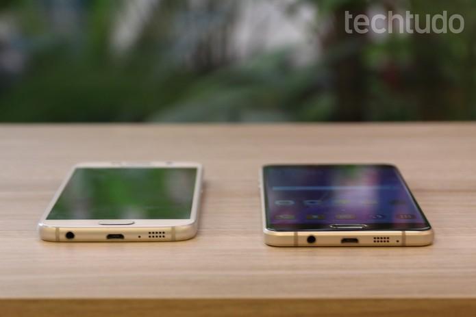 Galaxy A7 e A5 são bastante similares com pequena diferença no tamanho da tela (Foto: Caio Bersot/TechTudo)