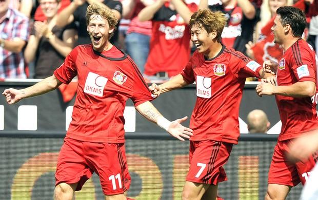 Comemoração Bayer Leverkusen contra o Freiburg (Foto: Agência EFE)