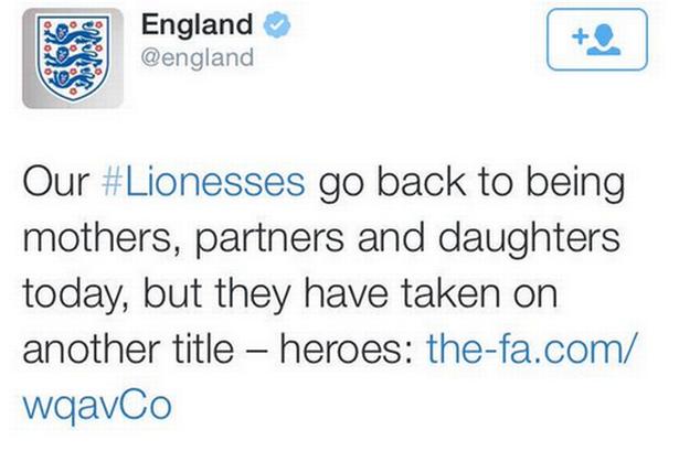 Inglaterra posta tweet polêmico