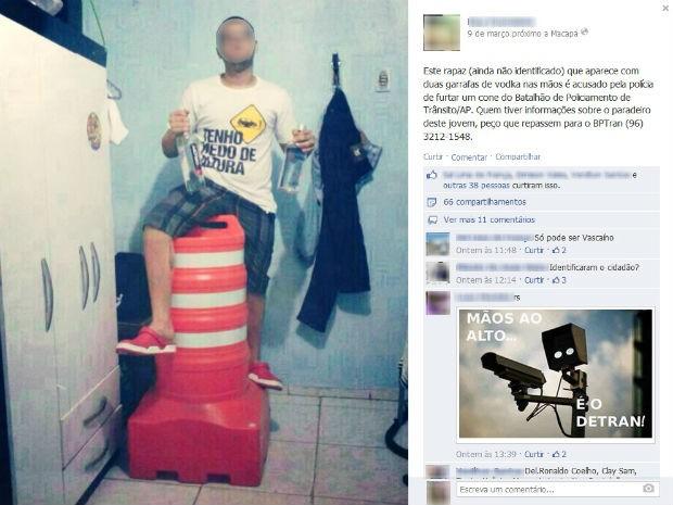 Menor postou foto ao lado de cone em página no Facebook (Foto: Reprodução/Facebook)
