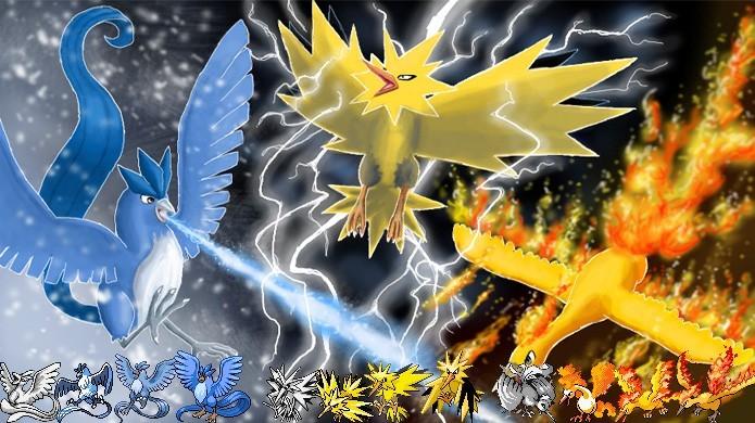 Da esquerda para a direita, Articuno, Zapdos e Moltres são os pássaros lendários de Pokémon Red & Blue (Foto: Reprodução/Rafael Monteiro)